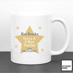 Personalised 5 Star School Teachers Gift Mug