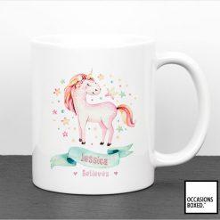 Personalised Believes In Unicorns Mug