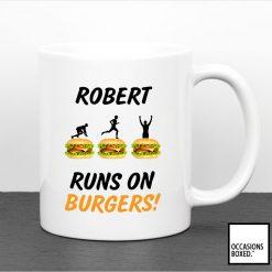 Personalised Runs On Burgers Mug
