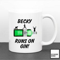 Personalised Runs On Gin Gift Mug