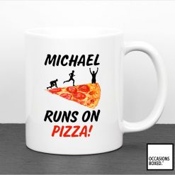 Personalised Runs On Pizza Gift Mug