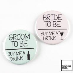 Bride & Groom Buy Us A Drink Pin Badges
