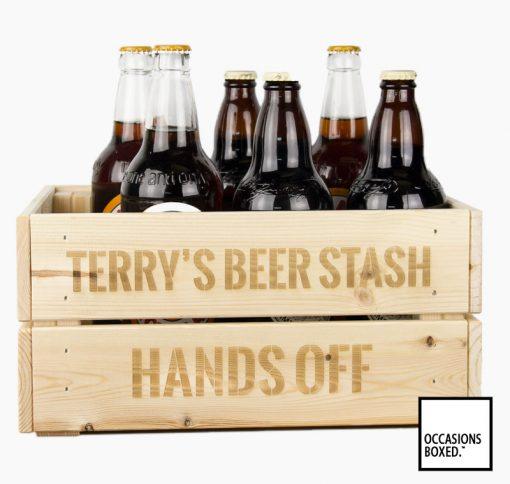 Beer Stash Personalised Wooden Crate
