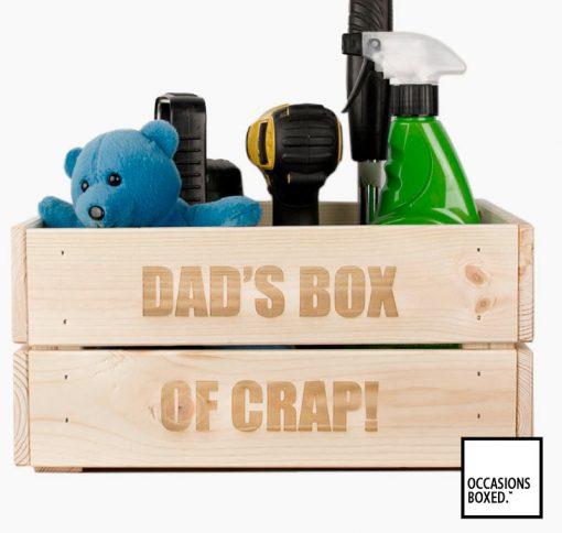 Dad's Box Of Crap Wooden Crate