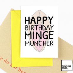 Happy Birthday Minge Muncher Adult Card