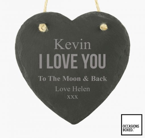 I Love You To The Moon And Back 15cm Hanging Heart Slate
