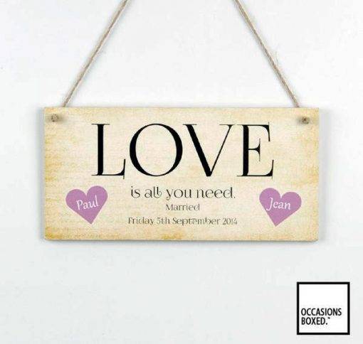 Love Is All You Need Hanging Wedding Sign