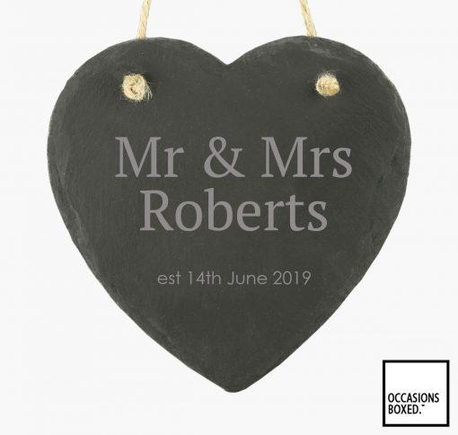 Mr & Mrs Wedding Date 15cm Hanging Heart Slate