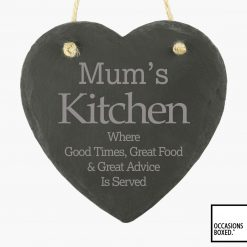 Mums Kitchen 15cm Hanging Heart Slate