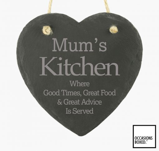 Mums Kitchen 15cm Hanging Heart Slate