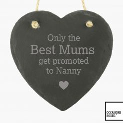 Only The Best Get Promoted 15cm Hanging Heart Slate