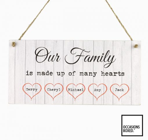 Our Family Is Made Up Of Many Hearts Personalised Family Sign