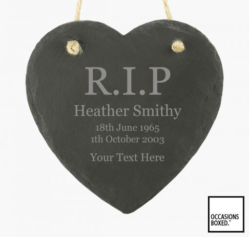 Personalised Rest In Peace 15cm Hanging Heart Slate