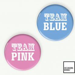 Team Pink Blue Gender Reveal Pin Badges