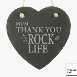 Thank You For Being My Rock Hanging 15cm Heart Slate