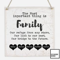 The Most Important Thing Is Family Hanging Sign