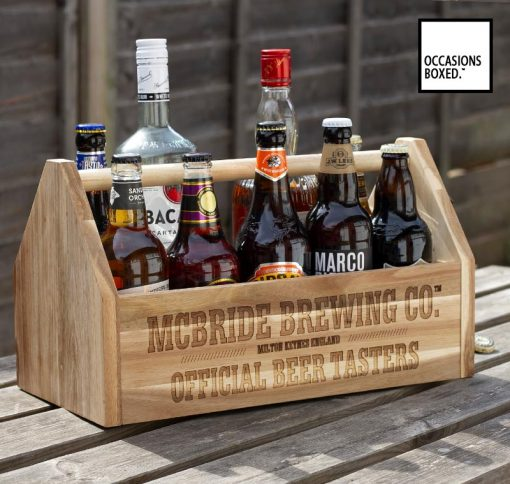Wood Beer Carrier With Personalised Writing