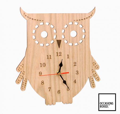 Wooden Owl Kitchen Clock