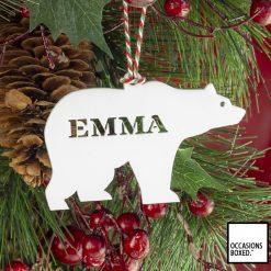 Christmas Tree Polar Bear Decoration Personalised
