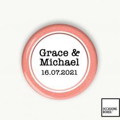 Couples Wedding Date Pin Badge